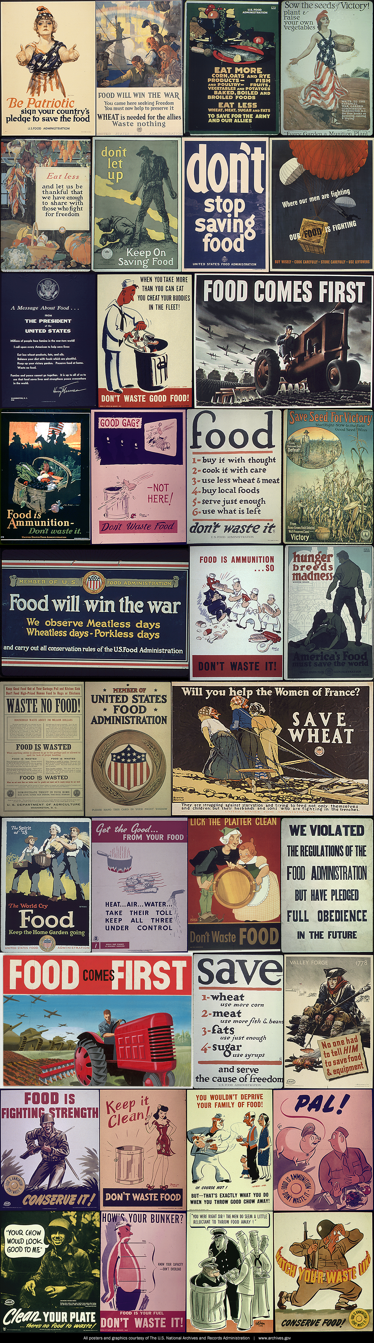 Posters from the US Food Administration from World War I and World War II