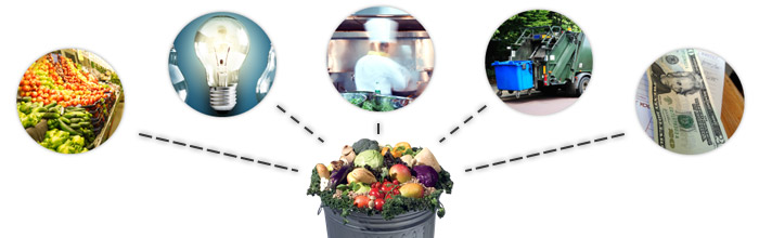 Food, energy, labor, disposal, and lost profits are all part of the total cost of food waste.
